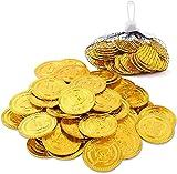 Herefun 100 Piezas Monedas Oro, Monedas Doradas de Pirata, Monedas de Oro...