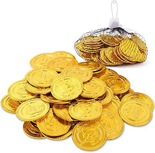Herefun 100 Piezas Monedas Oro, Monedas Doradas de Pirata, Monedas de Oro Piratas del Tesoro Pirata para Fiestas Temáticas Piratas (100 PCS)