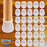 32 Pcs Chair Leg Floor Protectors, Transparent Silicon Chair Leg Caps Protection Cover, Round & Square Furniture Table Feet Cover, Prevents Scratches and Noise Without Leaving Marks
