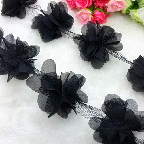 1 Yard Lace bloem chiffon trouwjurk bruids stof Lace Trim DIY Baby haarband, zwart