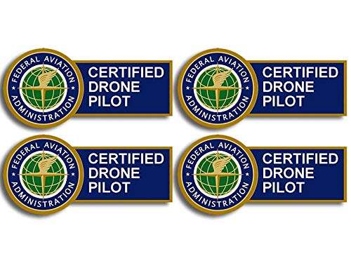 American Vinyl 4-Pack: Small FAA Certified Drone Pilot Sticker (Logo Federal Aviation UAV Aircraft Cell usdot)