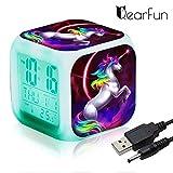 Réveils numériques Licorne pour les filles, Cube LCD LED de nuit avec enfants légers Réveillez-vous l'horloge de...
