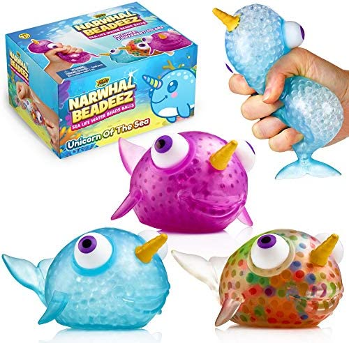 YoYa Toys Beadeez Narwhal Stress Relief Balls Set of 3 Anxiety Relief Squeezing Squishy Balls product image