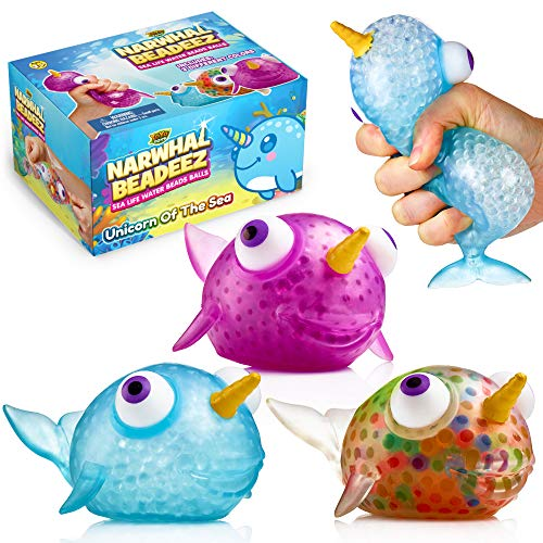 YoYa Toys Beadeez Narwhal Stress Relief Balls (Set of 3) - Anxiety Relief Squeezing Squishy Balls for Kids and Adults - Colorful Unicorn of The Sea Funny Fidget Sensory Toy Filled with Water Beads