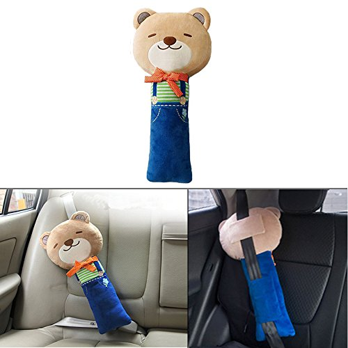 Seat Belt Pillow, Car Seat Belt Covers for Kids, Plush Toy Pet Seat Belt Strap Cover, Adjust Vehicle Shoulder Pads, Safety Belt Protector Cushion by Sunsang (bear)