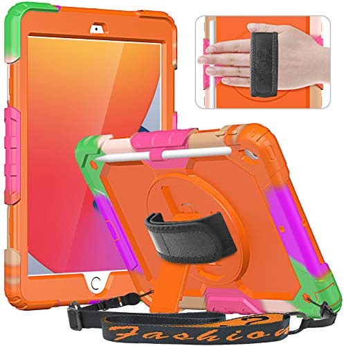 Timecity Kids Case for iPad 10.2 2020/2019 (iPad 8th/7th Generation Case) with Screen Protector, Shockproof Protective Cover with Rotating Stand Hand/Shoulder Strap for iPad 10.2-Orange (Multicolor)