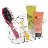 mDesign - Canasto organizador integral para el cuarto de baño; guarda champú, acondicionador, jabón - Claro