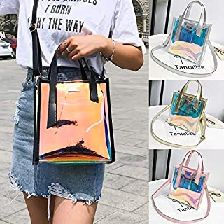 KKmoon Women Transparent Laser Bag Shopper Hologram PVC Totes Crossbody Shoulder Bag Handbag