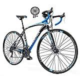 メンズマウンテンバイク 27段可変速フラットハンドルバー自転車 700Cロード自転車 マウンテンオフロード自転車軽量自転車衝撃吸収自転車(男の子とティーン向け)
