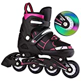 Bunao Girls Boys Adjustable Flashing Inline Skates, Fun Illuminating Rollerblades for Children and Adults, Start Roller Skating (Color4, UK_4-7/EU_39-42)