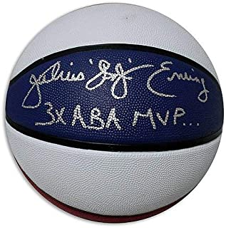 Julius Dr J Erving Autographed Red, White & Blue ABA Style Basketball Inscribed Dr J and 3x ABA MVP