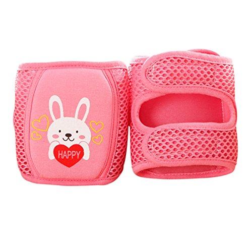 Xianheng 1Par Rodilleras de Gateos con Velcro Ajustables con Malla Transpirable para Seguridad de Bebé de 0-5 Años Unisex Rojo
