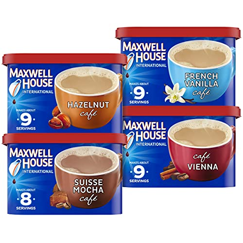Maxwell House International Variety Pack with French Vanilla, Suisse Mocha, Hazelnut, and Vienna Café-Style Instant Coffee Beverage Mix (4 ct. Pack)