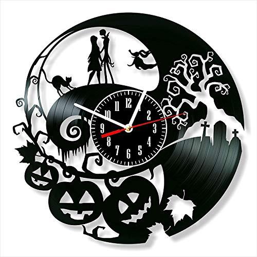 YYIFAN Reloj de vinilo de 12 pulgadas La pesadilla antes de Navidad, moderno creativo 3D registro de pared reloj de cuarzo digital, regalo único hecho a mano decoración interior de la pared
