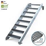 Außentreppe 8 Stufen 70 cm Laufbreite - ohne Geländer - Anstellhöhe variabel von 150 cm bis 180 cm- Gitterroststufe ST2 - feuerverzinkte Stahltreppe mit 700 mm Stufenlänge als montagefertiger Bausatz
