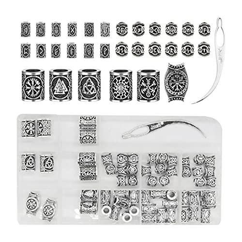 non-brand Cuentas para la Barba de Las runas vikingas nórdicas, para Pulseras Collar Colgante DIY, Cuentas para Trenzas de Pelo, Anillos Antiguos para la Barba, de Plata
