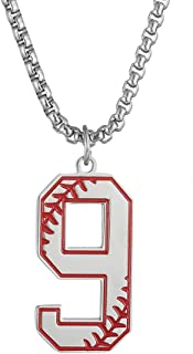 jiana Baseball Number Necklace for Boy,Men Sport Inspiration Initial Number Baseball Jersey Number 0-9 Charms Stainless Steel Necklace Chain Jewelry Gift