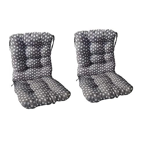 Pack 2 Cojines con Respaldo de Silla Jardin Conjunto Cojin de Asiento para Interior y Exterior Cómodo. Cojines para sillas Comedor, mecedoras, bancosterraza (Estrellas)