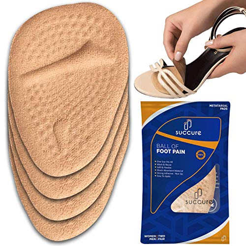 Succure Metatarsal Pads 2 Pair - Soft Gel Forefoot Heel Cushion Inserts for Women Shoes Relieves Pain and Discomfort and Fits All - Beige
