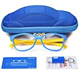 Kids Blue Light Glasses with Cute Car Case , UV400 Protection,Anti Blue Ray Computer Game Glasses