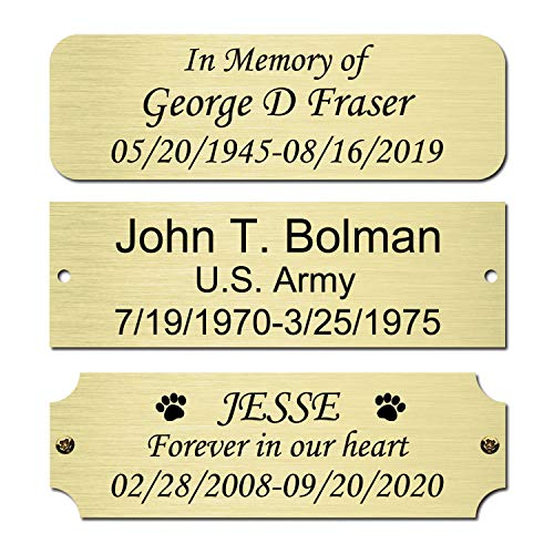 Size: 3' W x 1' H, Personalized, Custom Engraved, Brushed Gold Solid Brass Plate Picture Frame Name Label Art Tag for Frames, with Adhesive Backing or Screws - Indoor use only