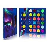 EBANKU Paleta de Sombras de Ojos Neon Luminous, 24 Colores Aurora Glow Eyeshadow de Halloween Neon Paleta de Sombras de Ojos Altamente Pigmentadas Que Brilla en la Oscuridad