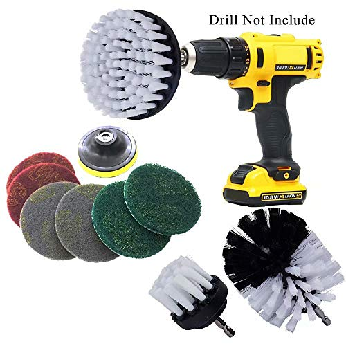 Best Prices! 10 Piece Drill Brush & Scrub Pads, Power Drill Scrub Brush Attachments with Drill bit E...