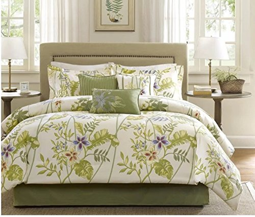 7 Piece Bright Floral Inspired Comforter Set King Size, Featuring Vibrant Flower Leaves Design Comfortable Bedding, Contemporary Stylish Nature Themed Bedroom Decoration, Green, White, Multicolor