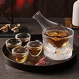 DUJUST Juego de sake japonés para 4, patrón de martillo de vidrio con adornos dorados hechos a mano, 1 botella de sake transparente, 1 tanque y 4 tazas, jarra de vino fría/tibia/caliente - 6 piezas