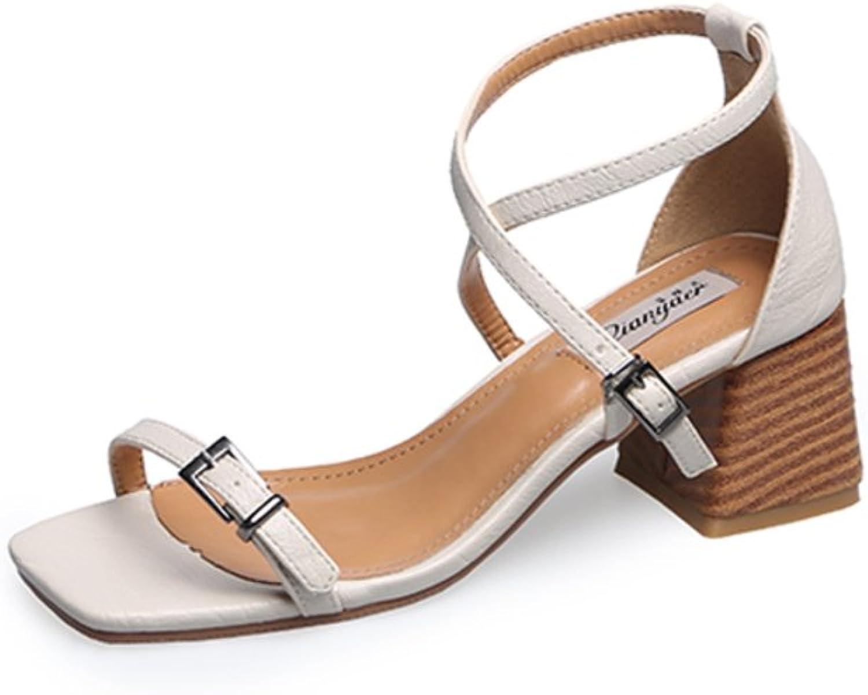 MET RXL Summer,Open Toe,Chunky Heel Sandals Lady,Cross Straps,High Heel