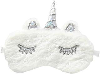 PRETYZOOM - Mascherina per dormire, in peluche, con unicorno, con glitter, per dormire, dormire, per viaggi (bianco)