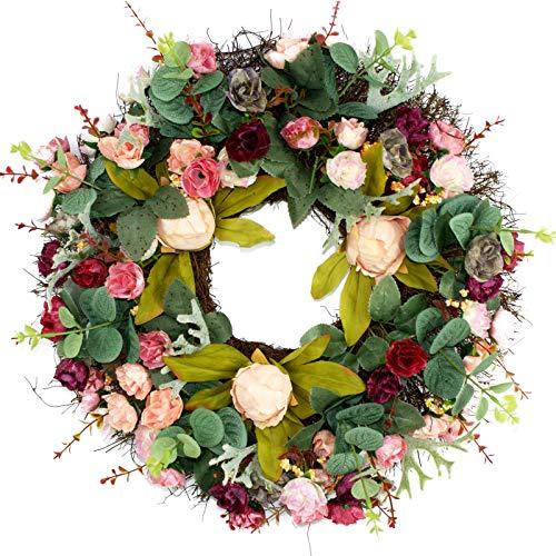 imaly Decor Door Wreath Silk Rose Teste Vino Rosso Fiore Ghirlanda 39,9cm Fatto a Mano Corona per Esterni, in Autunno, Inverno, Primavera, Estate e