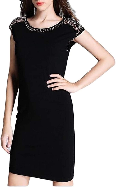 Joe WenkoCA Womens Short Sleeve Prom Summer Sequins Solid Slim Fit Dress