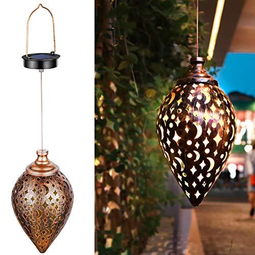 ZSZMFH Hanging Solar Lights,Outdoor Garden Light,Solar Lantern LED Star Moon Waterproof Retro Metal Light for Porch Garden Outdoor