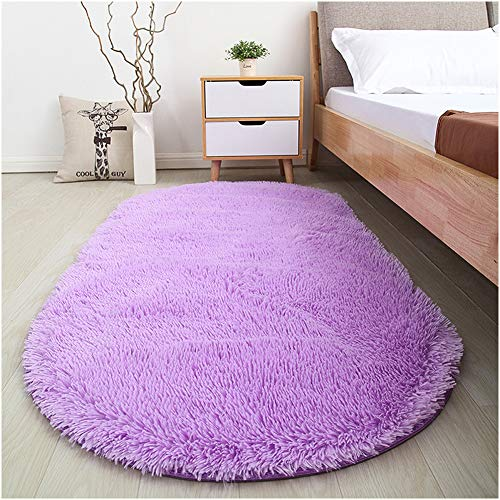 Softlife Fluffy Rugs for Bedroom, Shag Cute Area Rug for Girls and Kids Baby Room Home Decor, 2.6 x 5.3 Feet Oval Indoor Carpet for Nursery Dorm Living Room, Purple