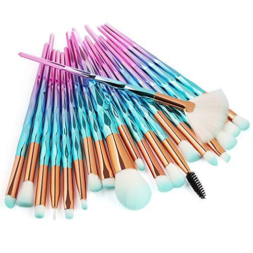 Lot de 20 pinceaux à poudre diamantée pour nail art - Outils cosmétiques pour une grande couverture - Poudre libre bronzante et blush
