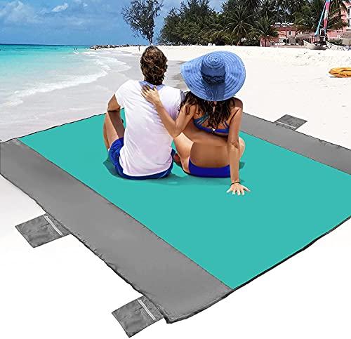 POPCHOSE Sandfree Beach Blanket, Large Sandproof Beach Mat for 4-7 Adults, Waterproof Pocket Picnic...