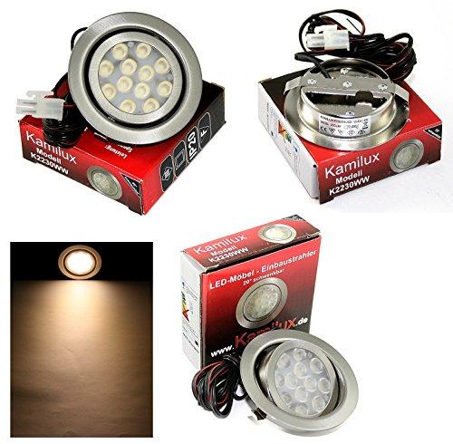 1er Set 12V Power LED Möbeleinbauspot IP20 Warmweiss 3 Watt LED = 30 Watt schwenkbar ohne Trafo