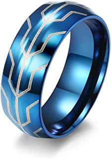 خواتم للرجال من التيتانيوم الصلب خواتم هدية الرجال الأسود والأزرق مطابقة