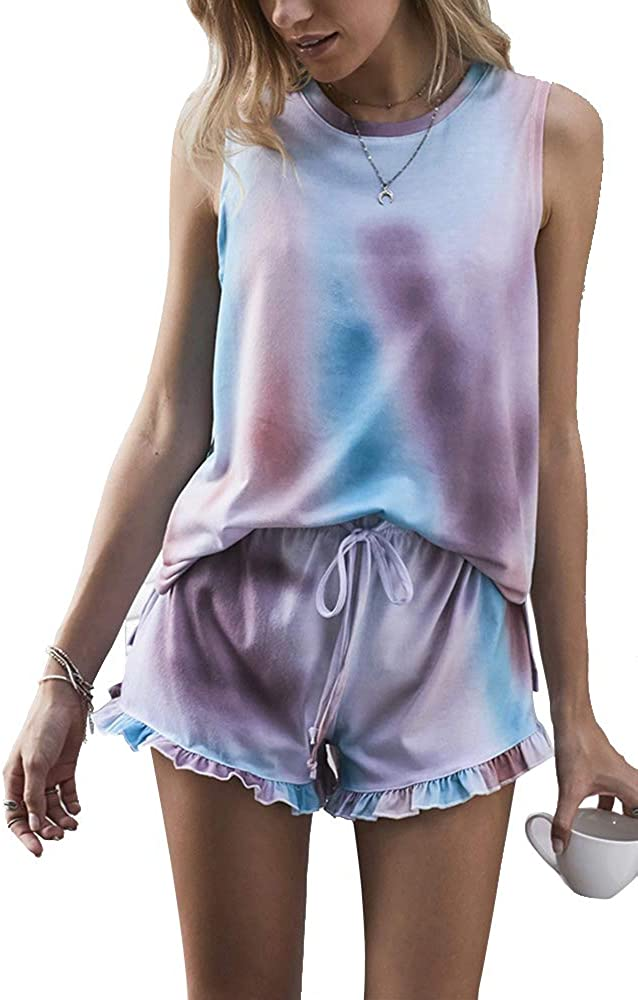 WSIRMET Women's 2 Pieces Outfits Sets Sleeveless Pullover Vest Tops and Short Pants Suits Tie Dye Loungewear Sweatsuit