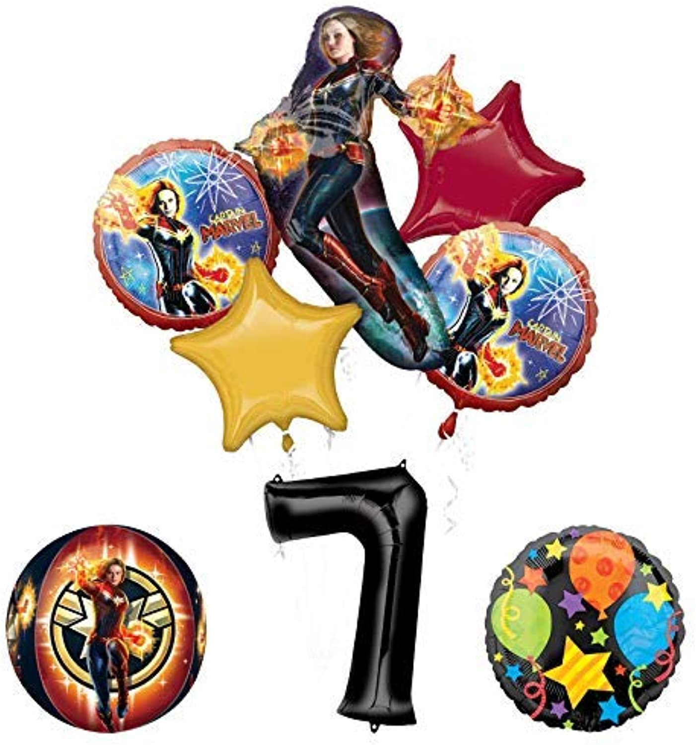 Mayflower Products Captain Marvel 7th Birthday Party Supplies Jubilee and Orbz Balloon Bouquet Decorations