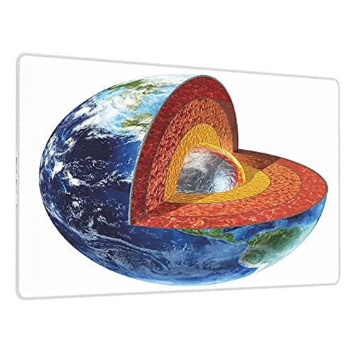 Alfombrilla de ratón Grande para Juegos,Imagen de la Tierra Que Muestra el núcleo Interno Geología y Ciencia temática,Base de Goma Antideslizante,Adecuada para Jugadores,PC y portátil(80 x 30cm)