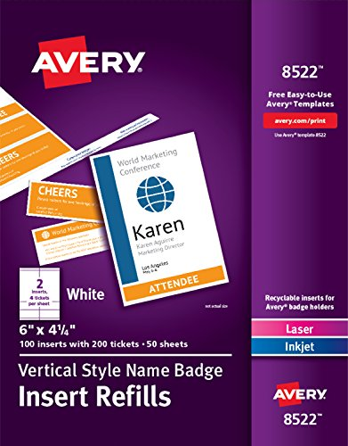 Avery Vertical Name Badge & Ticket Inserts, 6' x 4-1/4', 100 Inserts (8522)