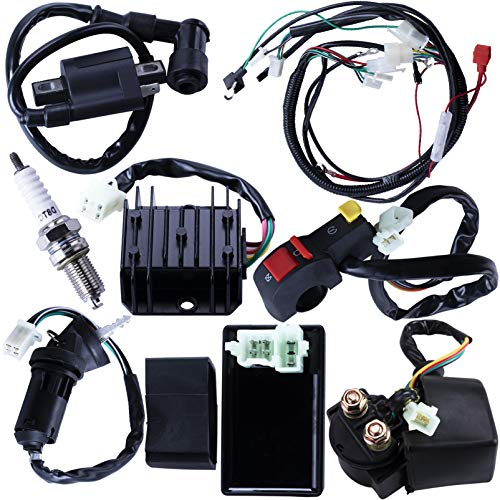 Complete Electrics Wiring Harness CDI Ignition Coil Solenoid Relay Spark Plug Kits For Chinese 4-Stroke ATV QUAD Dirt Bike 150cc 200cc 250cc Go Kart By OTOHANS AUTOMOTIVE