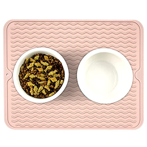 Ptlom Dog and Cat Placemat, Pet Food and Water Mat, Suitable for Large, Medium and Small Pets, Prevent Water and Food from Spilling, Silicone, Light Pink