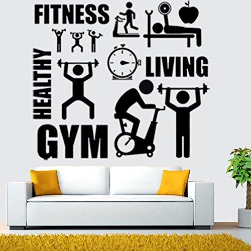 Vinilo adhesivo para pared con diseño de estilo de vida saludable y motivación deportiva, fitness y gimnasio