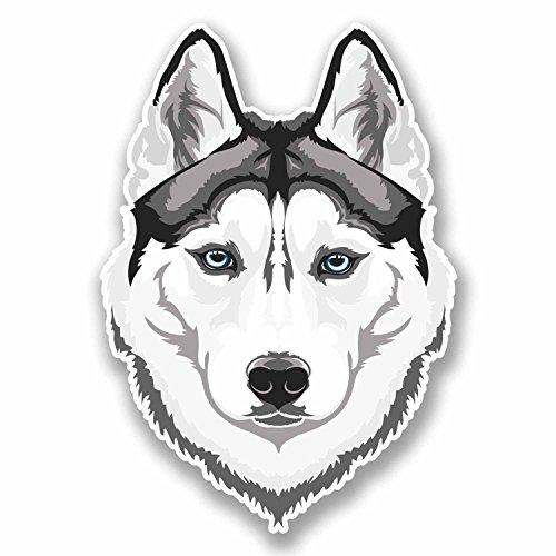 2 pegatinas de vinilo de 10 cm de ancho, diseño de lobo husky lobo blanco para ordenador portátil, tableta, coche, perro, regalo #9674 (7 cm de ancho x 10 cm de alto)