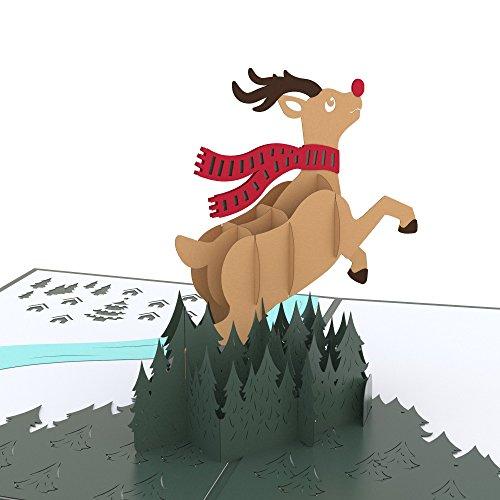 Lovepop Reindeer Pop Up Card - 3D Cards, Christmas Pop Up Cards, Holiday Pop Up Cards, 3D Christmas Cards, Reindeer Card, Christmas Card for Kids