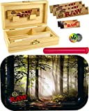RAW Rolling Tray Forest Small Metall - Box Medium Holz 155 x 85 x 48mm + 3X 32er RAW KS Slim Papers...