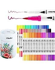 Rotuladores de Pincel, Ohuhu 60 Rotuladores de doble punta para colorear, Pincel de agua para dibujar o subrayar, Rotuladores para dibujos de caligrafía, bocetos, libros de colorear